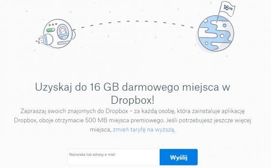 Uzyskaj do 16 GB darmowego miejsca w Dropbox!